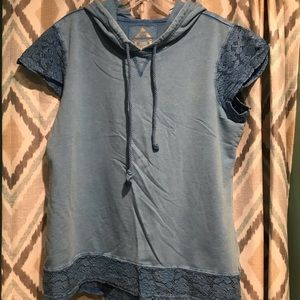 Relax Womans Quarter Sleeve Hooded Blue Top PXL
